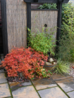 Oriental wheelie bin screen complete with self-contained pebble water feature planted with Acer palmatum and bamboo for autumn colour <br />www.heysgroundcare.co.uk